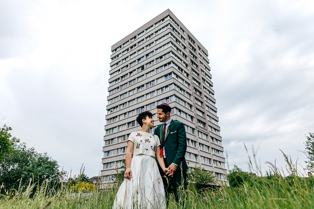 urban-couples-portrait-in-front-of-tower-block-london-wedding-photographer