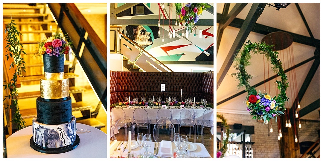 Interior of Twelve Restaurant in Thornton Cleveleys. Wedding decor. Hanging industrial lights. flower wreaths and graphic painting. Cool wedding cake that is gold, black and white marble effect.