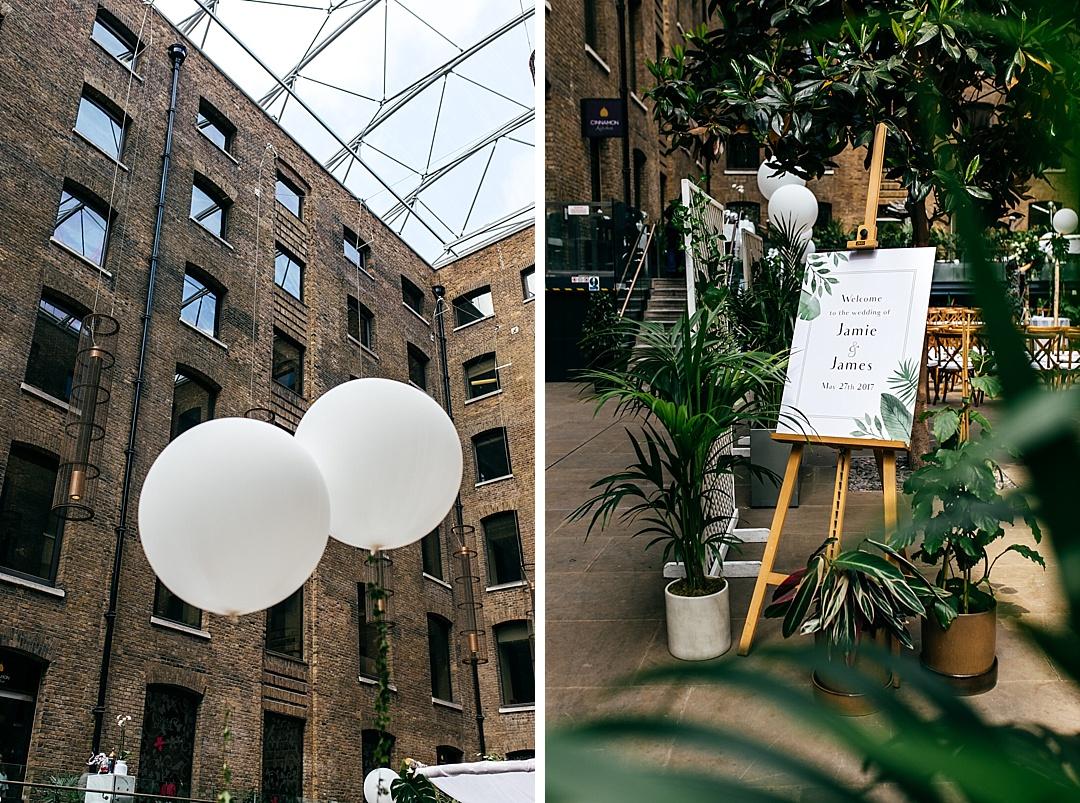 wedding-design-palm-leaves-white-balloons-devonshire-terrace