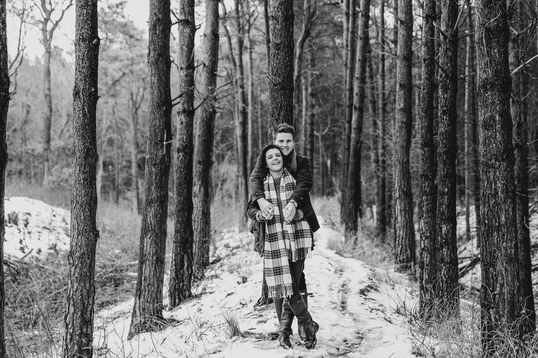 Couple shoot in Pine forest in Northamptonshire